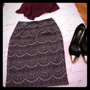 Lace pattern, black lace and nude color underskirt